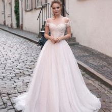 Scoop Tulle Neckline Splice Beading Lace Applique Short Sleeves A line Wedding Dress Sweep Train Lace up Back Bridal Dress