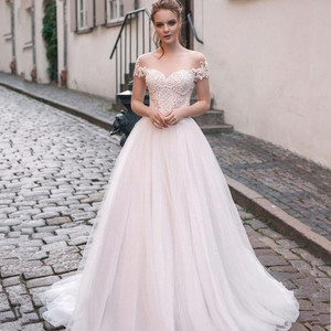 Image 1 - Scoop Tulle Neckline Splice Beading Lace Applique Short Sleeves A line Wedding Dress Sweep Train Lace up Back Bridal Dress