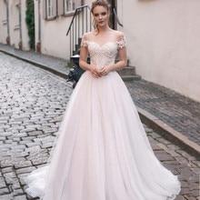 Scoop tule decote splice miçangas rendas apliques mangas curtas a linha vestido de casamento trem varredura laço up volta vestido de noiva