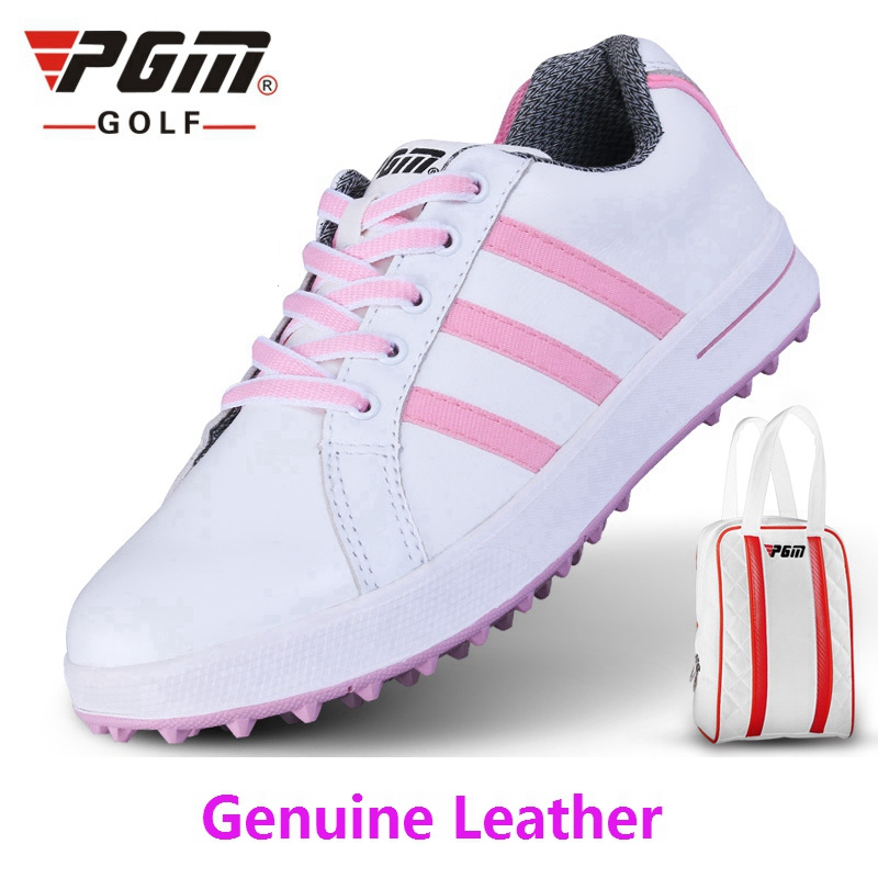 Brand PGM Ladies Women sport shoes Genuine Leather shoes Golf Sports Light & Steady & Waterproof. Come with a shoes bag pgm genuine golf standard durable bag waterproof lady golf capacity standard ball bag embroidered package contain full set club