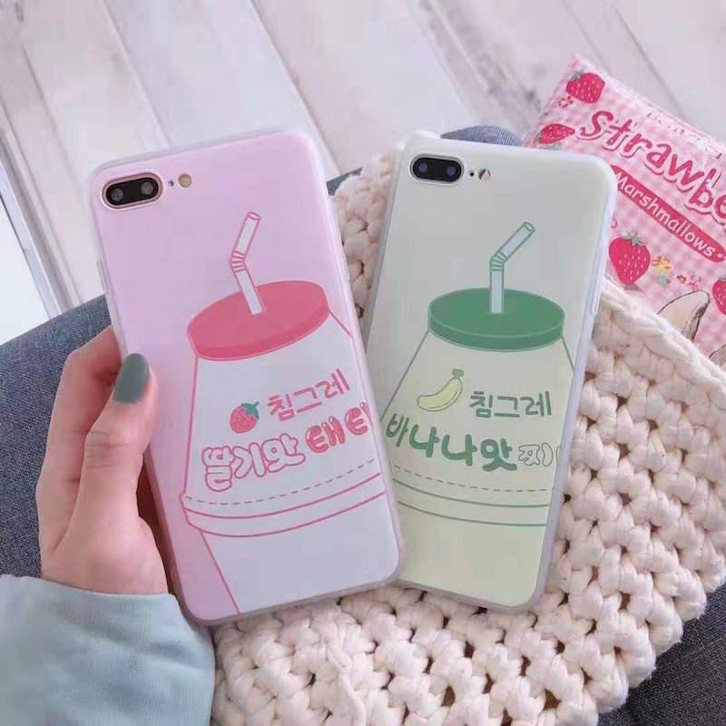 Korean pink strawberry yogurt mobile phone case for