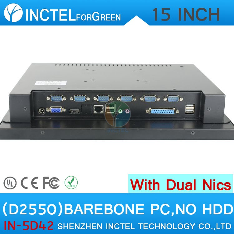 High quality 15 LED touch screen All in One pc with 2 RJ45 6 COM HDMI