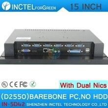 """Высокое качество 15 """"LED сенсорный экран Все-в-Одном pc с 2 * RJ45 6 * COM HDMI VGA barebone pc"""