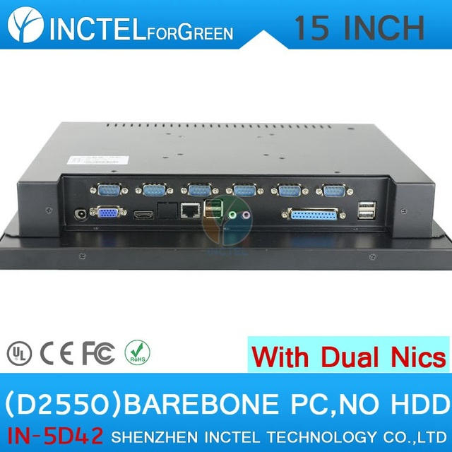 "High quality 15"" LED touch screen All-in-One pc with 2*RJ45 6*COM HDMI VGA barebone pc"