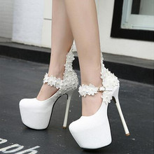 New Fashion Flower Sexy High Heels Wedding Shoes Woman White Shoes Women Pumps 15cm Platform Shoes Bride Stiletto