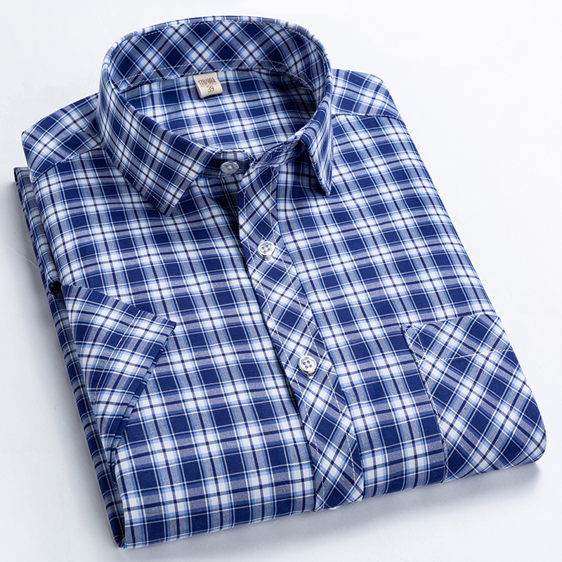 Checkered shirts for men Summer short sleeved leisure slim fit Plaid Shirt square collar soft causal male tops with front pocket 3