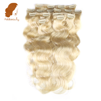 Addbeauty 120G Full Head Set 613 Blonde Color Machine Made Remy Hair Body Wave 7Pcs / lot Clip in Human Hair Extensions