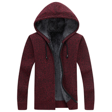 b Men's autumn and winter coat jacket sweater hooded plus velvet thick section warm jacket sweater plus size 3XL autumn winter new child christmas elk cotton thread knitted coat boy and girl hooded plus velvet children s sweater warm coat