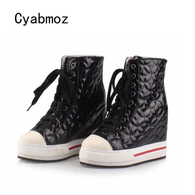Cyabmoz Women Wedge Platform Hidden High heels Lace up High top Height increasing Ankle Boots Ladies Casual White Single Shoes 2018 wedge high heels thick soled high top ladies casual shoes women platform canvas shoes hidden wedge heel boots zapatos mujer