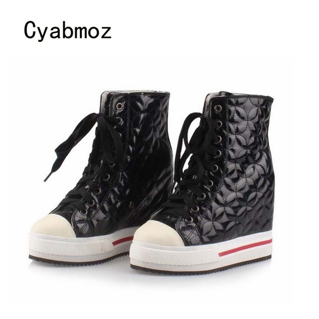 5f822365ca01 Cyabmoz Women Wedge Platform Hidden High heels Lace up High top Height  increasing Ankle Boots Ladies Casual White Single Shoes
