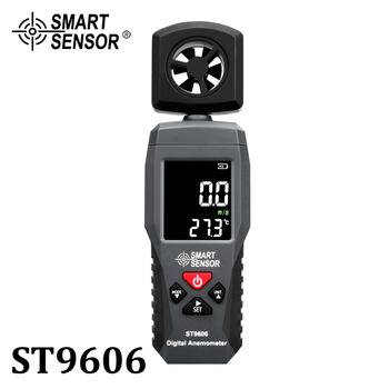 Cyfrowy przenośny wyświetlacz lcd anemometr termometr prędkość wiatru licznik pomiarowy miernik prędkości powietrza 4 zakres wysoki niski Alarm ST9606 tanie i dobre opinie SMART SENSOR ±5 rdg±0 1 0 1 m s 0°C-50°C 32°F-122°F 3*1 5V AAA Battery(Not Included) 0 1°C 0 1°F -10°C-50°C 0 -90 RH