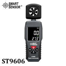Digital Portable LCD Anemometer Thermometer Wind Speed Measuring Meter Air Velocity Gauge 4 Range High Low Alarm ST9606