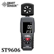 الرقمية المحمولة LCD مقياس شدة الريح ميزان الحرارة سرعة الرياح جهاز القياس قياس سرعة الهواء 4 المدى عالية منخفضة التنبيه ST9606