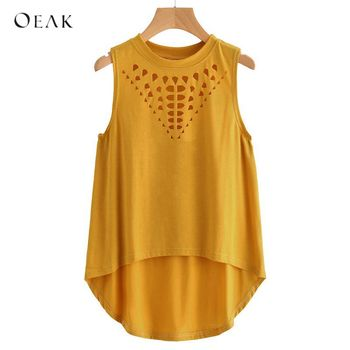 Casual Tank Solid Sleeveless Hollow Out Tee Loose Tops