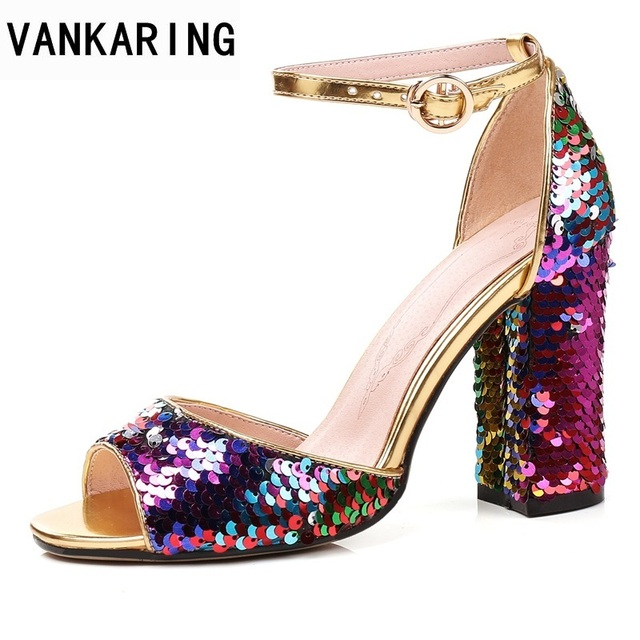 5c96776ea25 VANKARING summer 2018 women heeled sandals super square high heels 9 cm  summer colourful sequins heels lady shoes big size 45
