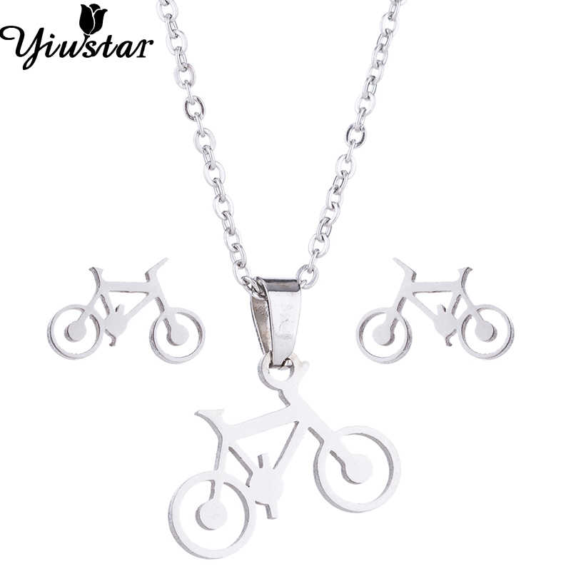 Yiustar Mini New Fashion Generous Charming Cute Bike Necklaces Simple Sweet Gold Necklace For Women Girl Kids Family Party Gifts