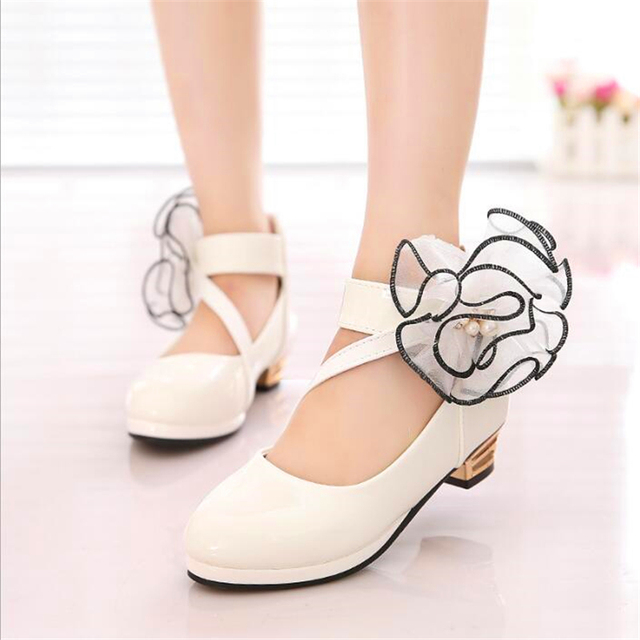 The most beautiful Flowers Girls PU Leather Shoes Girls Party Dance  Children Kids Shoes Princess High 996597fddf34