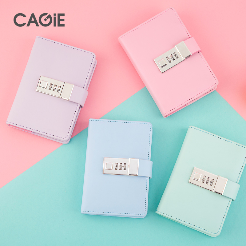 CAGIE Diary with Lock Mini Notebook a7 Macaron Leather Daily Planner Thick Lines Paper Pocket Travelers Notebooks and Journals