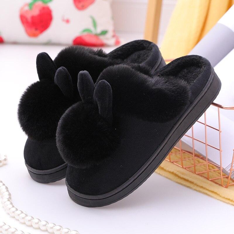 Cartoon Women Home Slippers Rabbit Ears Slip On Soft Soled Winter Warm House Shoes Women Indoor Outdoor Fur Slippers Footwear 2