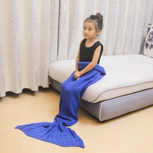 Knitted Mermaid Tail Kids Sleeping Bag Children Blanket Bedding Sofa Little Tail Bed Wrap Blanket For Baby knitted fishbone sofa wrap kids mermaid tail blanket