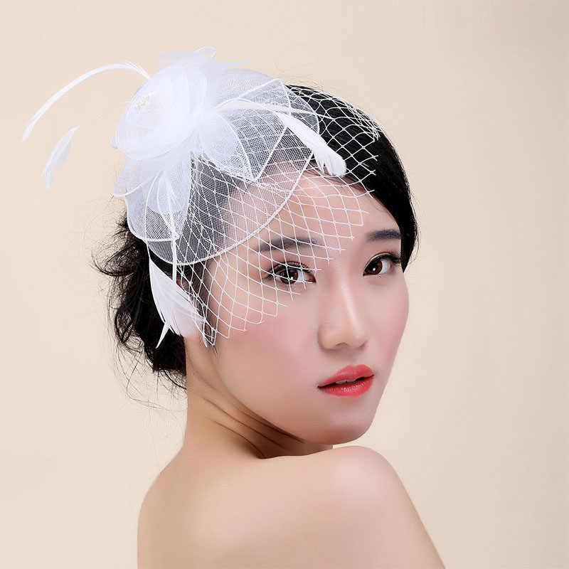 แฟชั่นผู้หญิงF Ascinatorขนนกตาข่ายผ้าโพกศีรษะแต่งงานเจ้าสาวอุปกรณ์ผมสง่างามเลดี้V Eilingค๊อกเทลหมวก