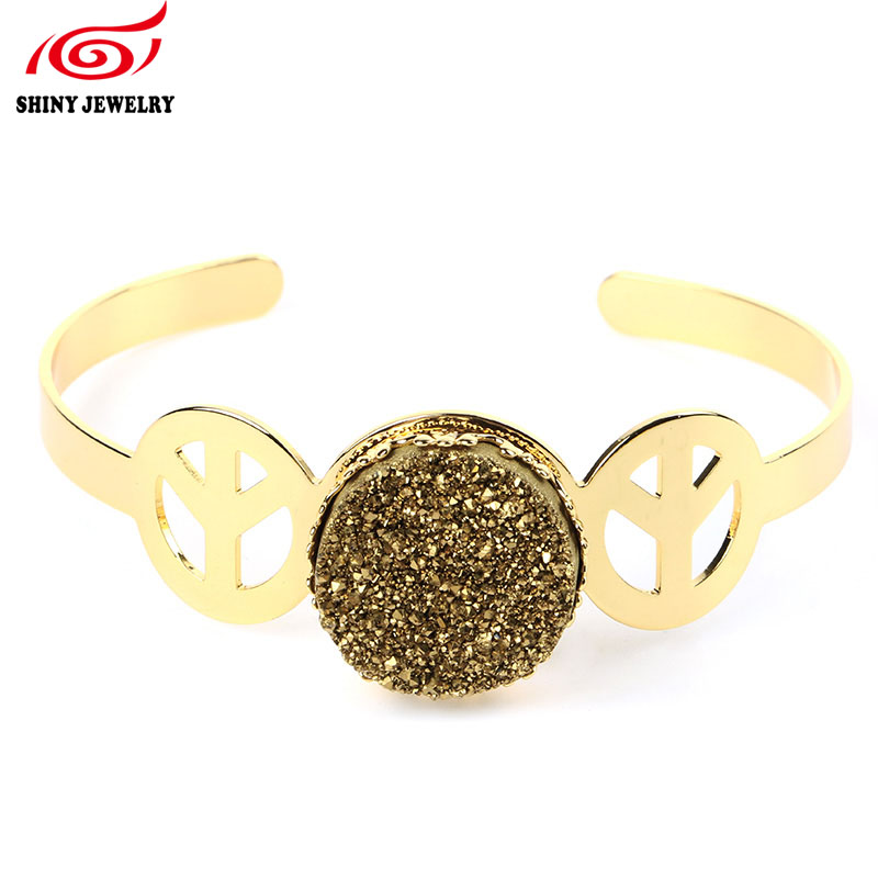 Vintage Golden Natural Mineral Druzy Bangle Bracelets Cuff Womens Gold Fill Geode Agates Druzy Round Open Bangles Palace Style