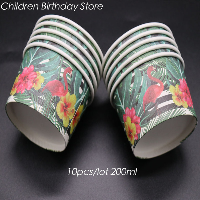 10pcs Lot Flamingo Theme Disposable Cups Ice Cream Birthday Party Decorations Cake