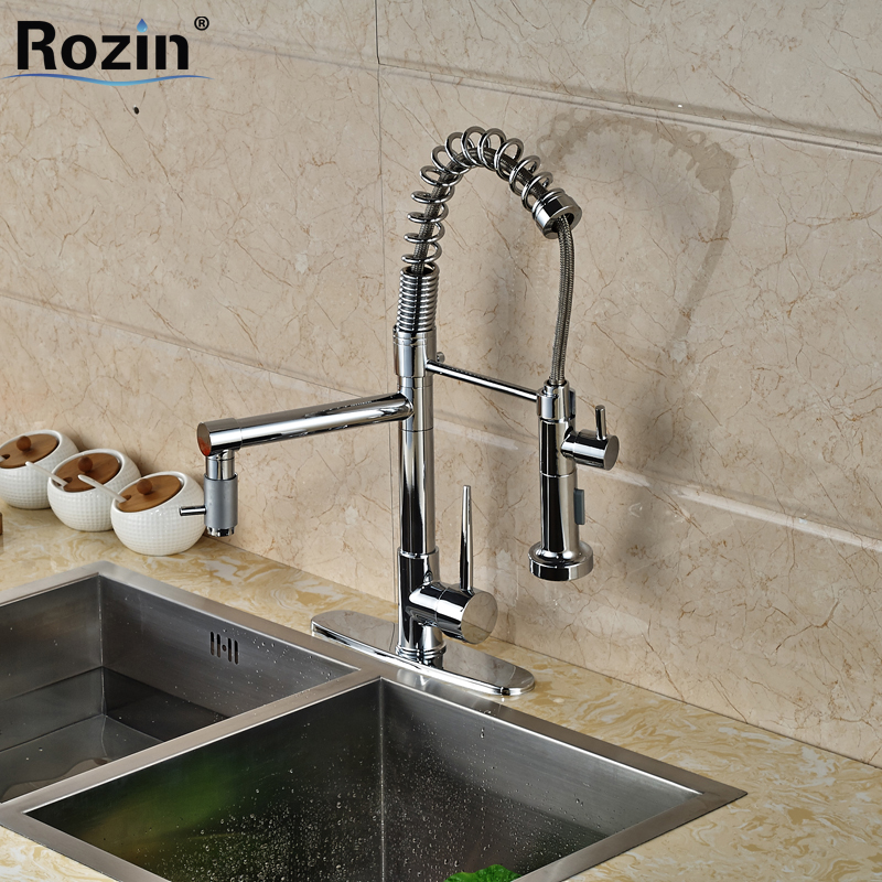 ФОТО Deck Mount Dual Spout Convenient Kitchen Sink Faucet Single Handle One Hole Spring Kitchen Mixer Hot and Cold Water