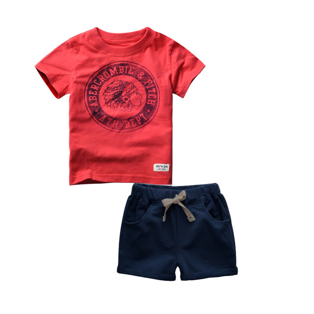 2016 High Quality Summer Baby Boys Casual Clothes Sports Suit Short Sleeve T-shirt +Shorts Kids Childrens Clothing Sets for 2-6T
