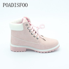 2017 women's Boots Square heel Ankle Boots Lace-Up Boots  Round Toe Big size Martin boots .XZ-07