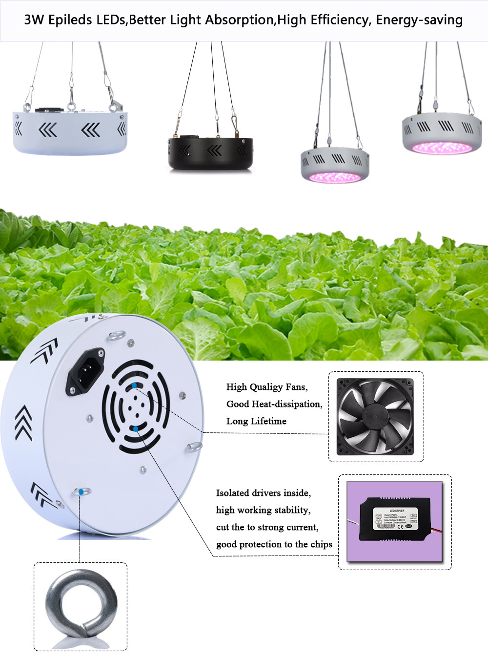 LED Grow Light  UFO Led Plant Growing Lamp 1pcs Full Spectrum  150W  216W for Flower Vegetables 50x3W 72X3W Led Chip Ac85-265  3pcs newest ufo 150w led grow light full spectrum 50x3w led chip plant growing lamp for flower vegetables express free shipping