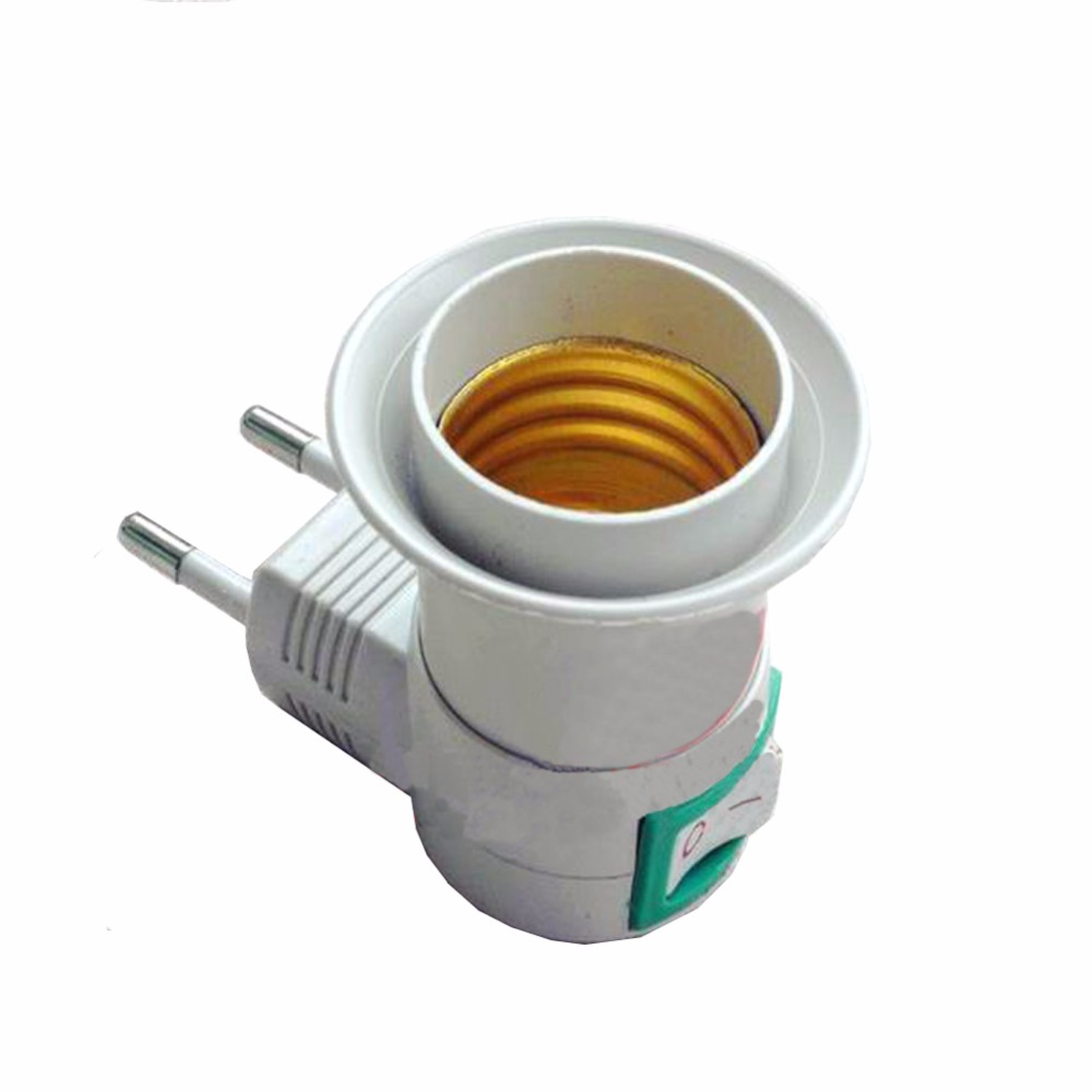 New E27 female socket to EU plug adapter with power on-off control switch