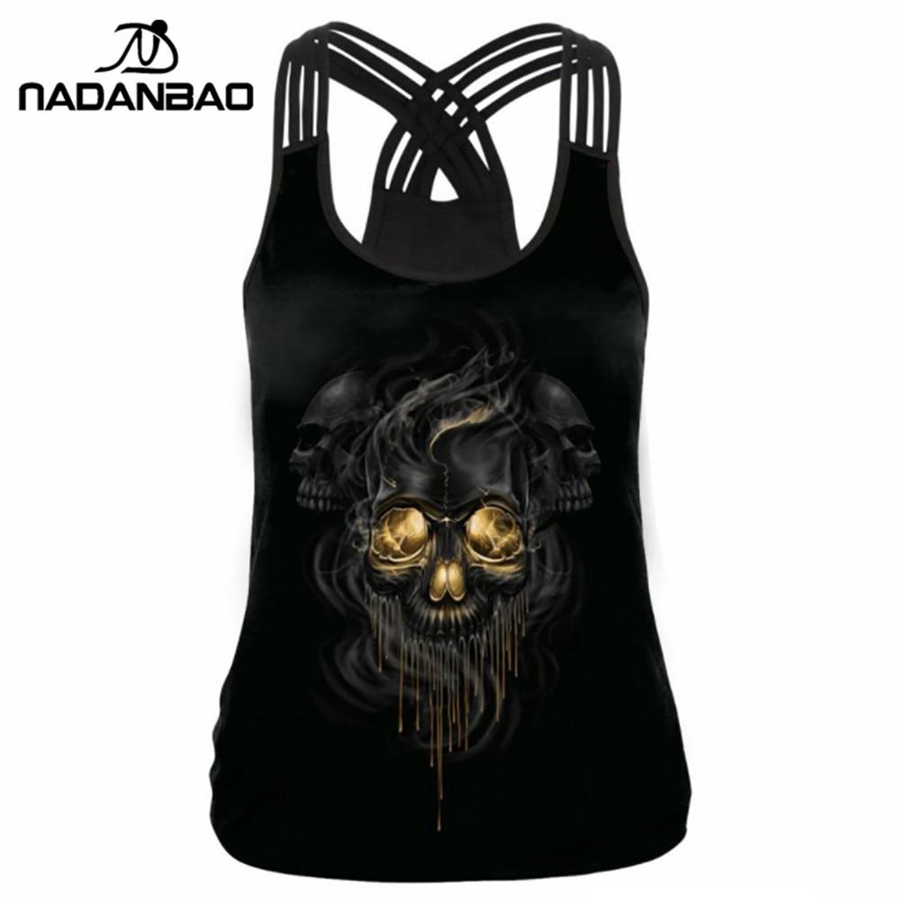 NADANBAO Summer Skull Women   Tank     Top   Skeleton Gold Cropped 3D Print Bandage Sleeveless   Tops   woman