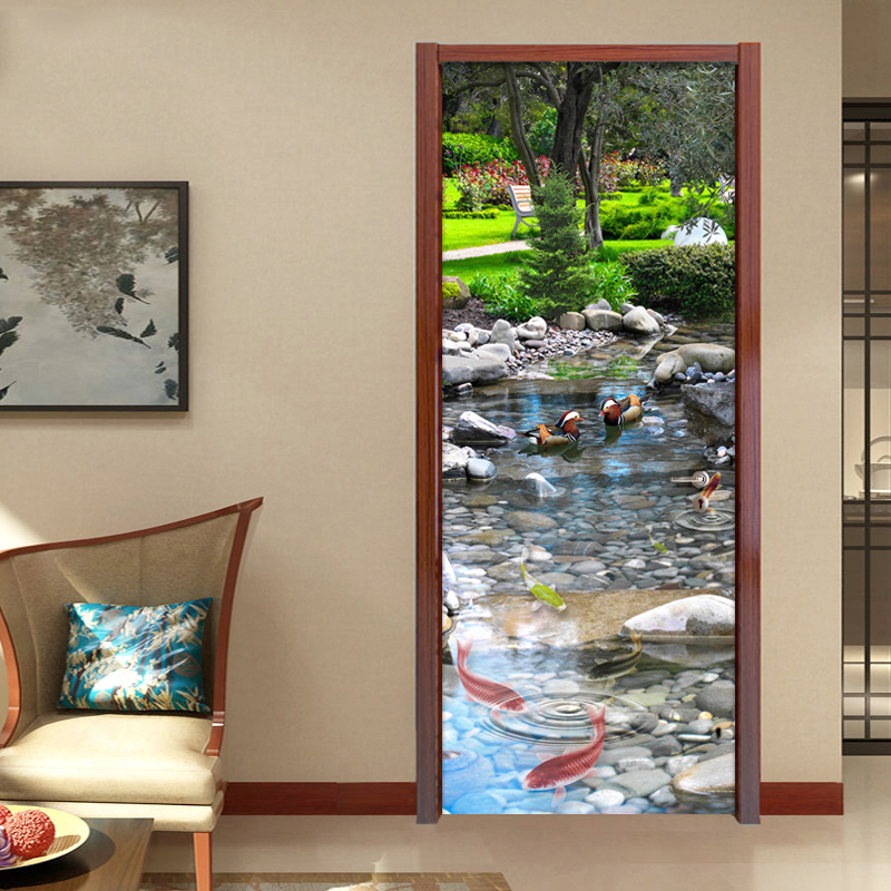 3D Wallpaper Chinese Style Park River Stone Classic Mural Living Room Study Room Landscape Door Wallpaper Sticker Vinyl Mural 3D
