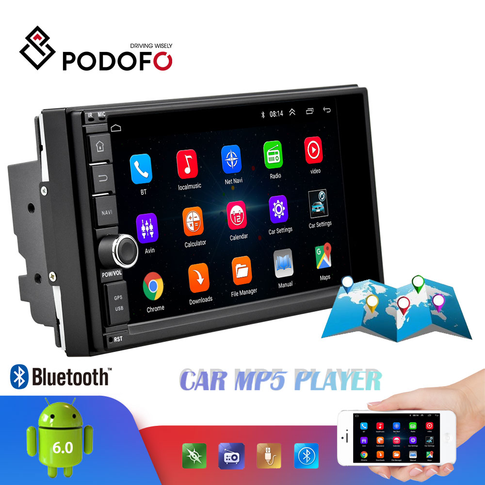Podofo Android Car Multimedia Player 2 Din 7 Touch Screen Car Radio Audio Bluetooth MP5 Player