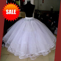 Best Sale White 3 Layers Wedding Accessories Petticoats For Wedding Dress Tulle Under skirt Ball Gown Petticoat Skirt No Hoops