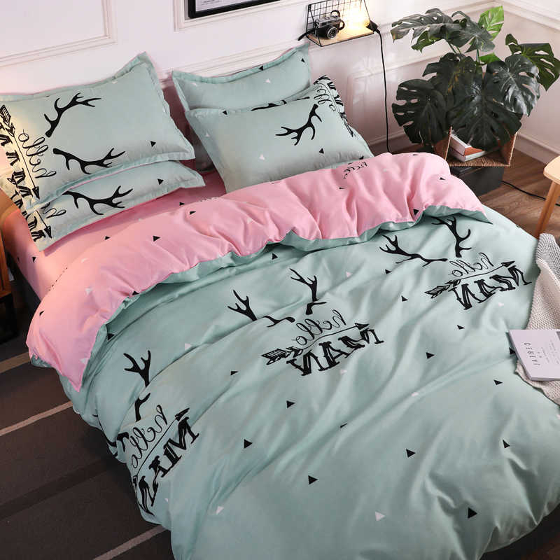 elk bedding set super king size duvet cover navy bedding 3/4pcs bed set flower bed linen flat sheet Adult kids home bed set