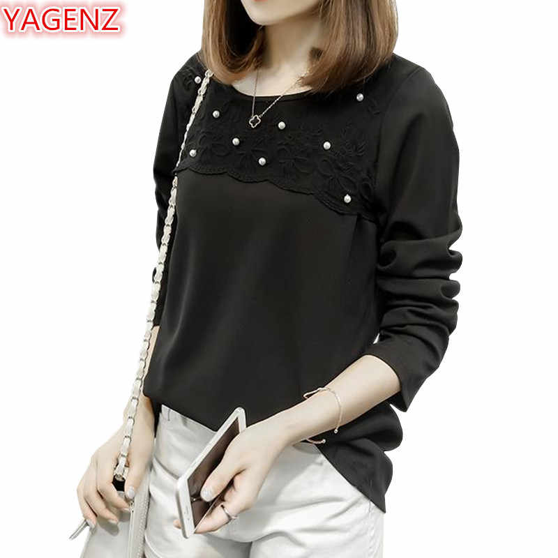 YAGENZ Spring Autumn Shirts Womens T shirt Black Tops Plus size 4XL Long sleeve Top bottoming Shirt O-Neck Ladies T shirt 947