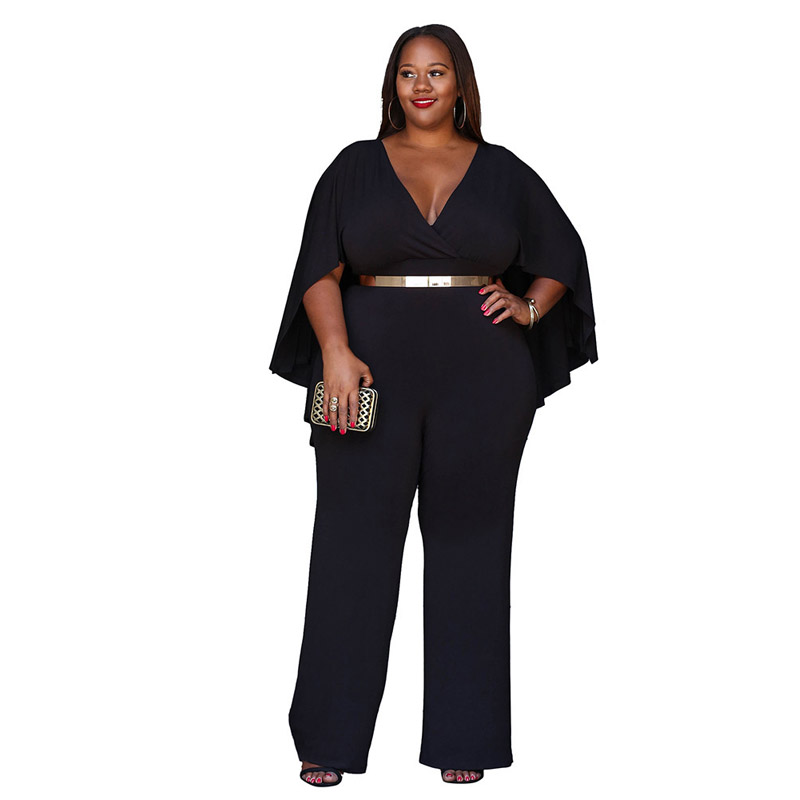 African Womens Sexy V Neck Summer Casual Party Stretch Bodycon Plus Size Wide Leg Long Pants Fashion Cape Romper Jumpsuit 256020