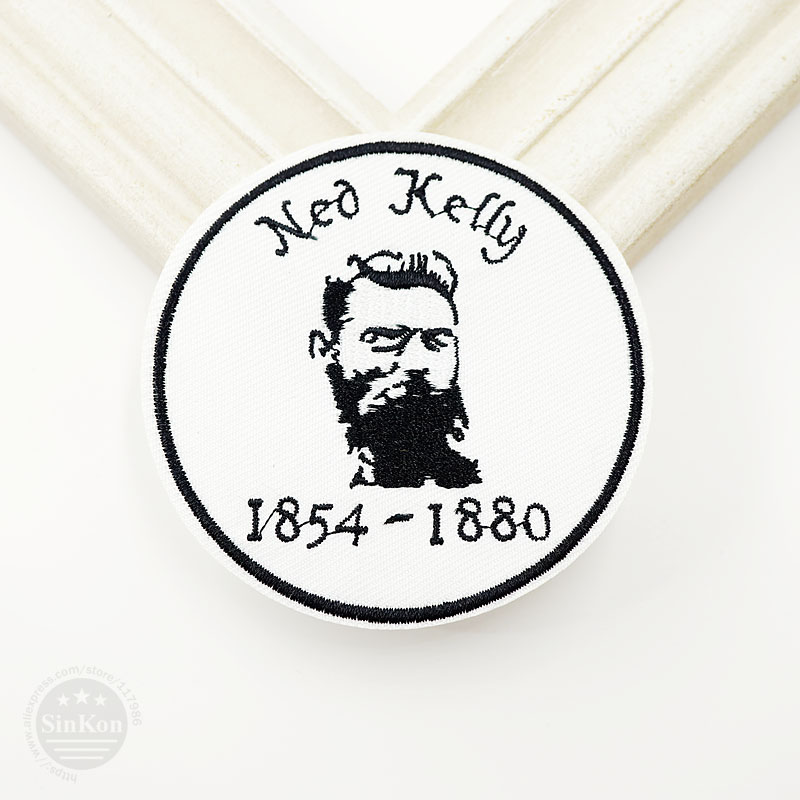 Ned Kelly (Size:7.6cm) DIY Cloth Patch Badge Embroidered Cute Badges Hippie Iron On Kids Cartoon Patches For Clothes Stickers