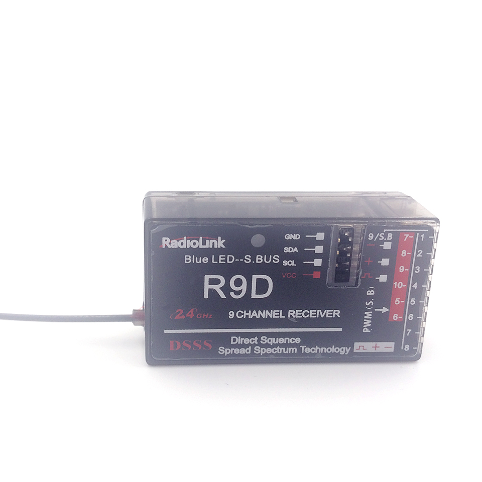 2015 New 9CH RadioLink R9DS 2.4G DSSS Receiver Special for AT9 AT10 Remote Controller transmitter rc helicopter quadcopter