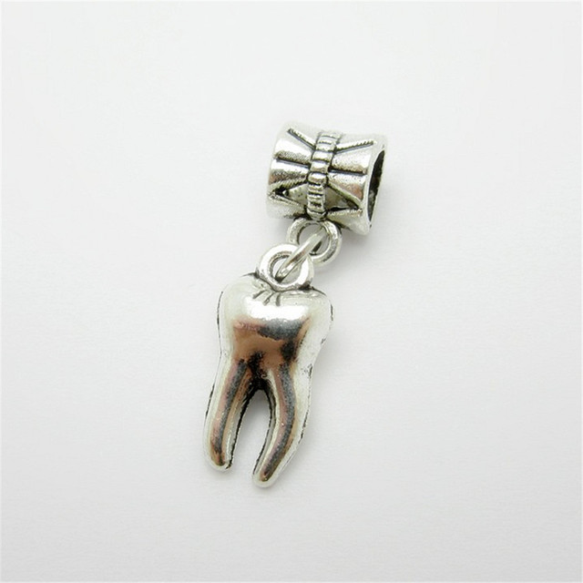 a603423b0 ... discount ancient silver 25pcs tooth charms bead fit pandora bracelet  pendants diy 547ef 33798