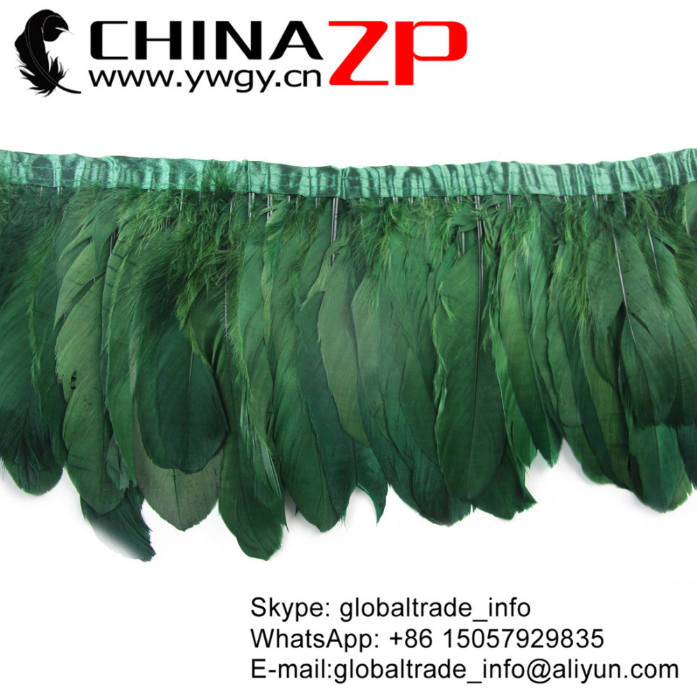 Gold Supplier CHINAZP Factory Fantastic DIY Decoration Dyed Kelly Green Goose Nagoire Satinettes Feather Trim Fringe