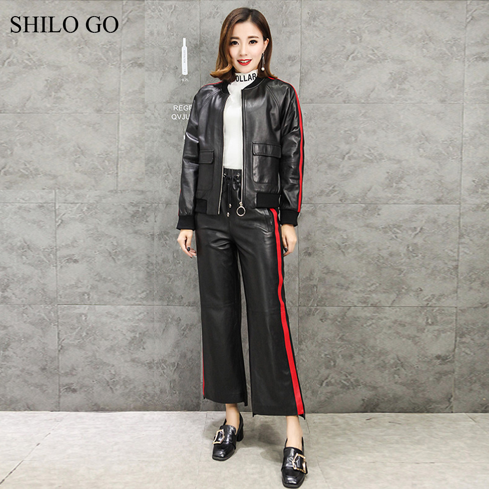 SHILO GO Leather Suit Womens Autumn Fashion sheepskin genuine leather Sets Stand collar concise leather Jacket stripes pants