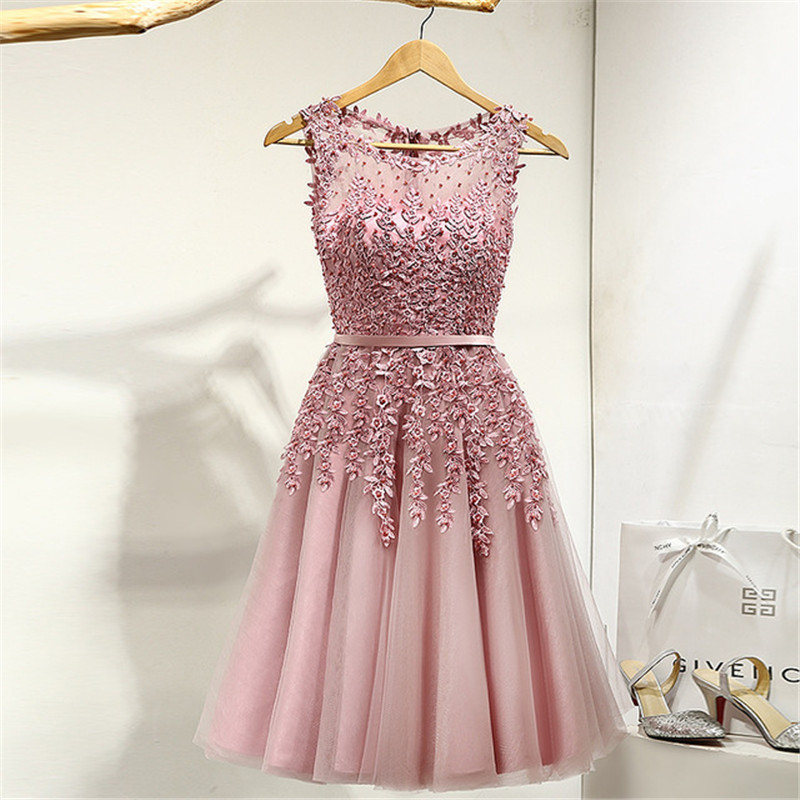 New Elegant White Bridesmaid 2019 For Girl Dresses Beads Zipper Sleeveless Wedding Party Robe Demoiselle D'honneur Pour Femmal