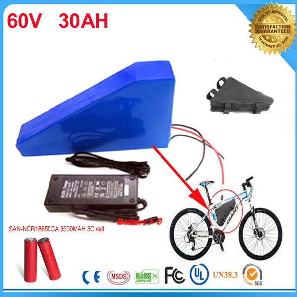 Free customs duty New arriver triangle battery pack lithium battery 60v 30ah 3000w electric bike battery with Sanyo Cell and bag