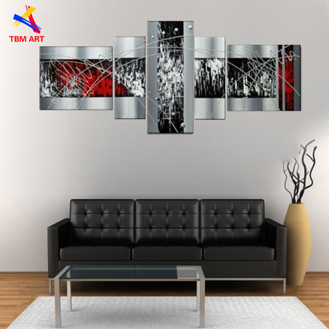 Silver Color Hand Painted Modern Abstract Oil Painting on Canvas No Framed for Living Room Decoration Wall Art Gift  JYJZ047
