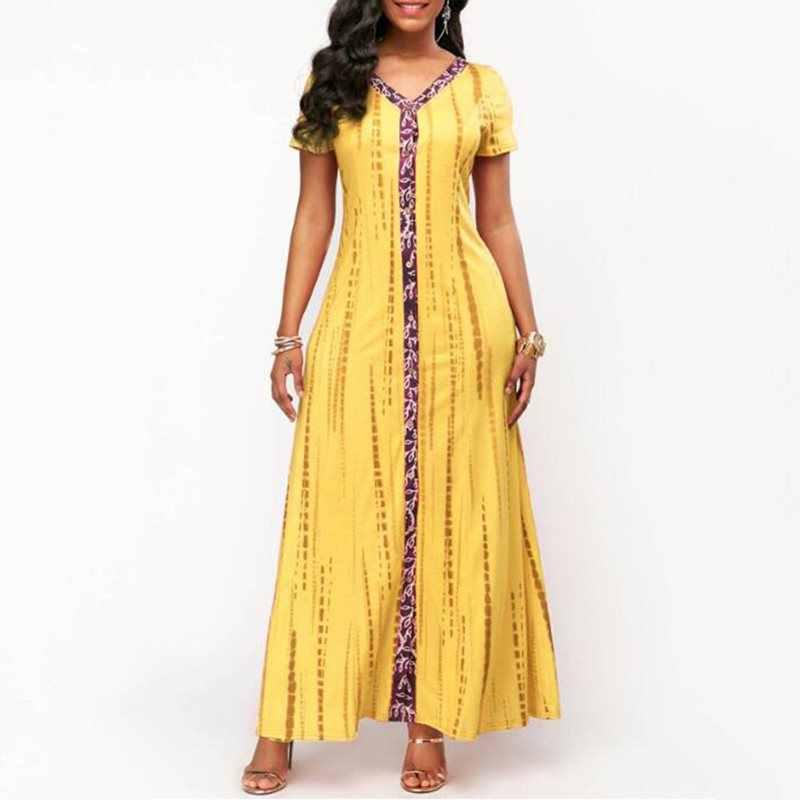 קיץ בתוספת גודל אפריקאי מקסי שמלת נשים אתני אופנה הדפסת גדול נדנדה רחוב מזדמן חלוק אלגנטי גבוה מותן כחול ארוך שמלות