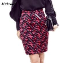 Женская длинная юбка-карандаш длиной до колена, Модная Летняя Открытая Сексуальная элегантная клетчатая юбка размера плюс, юбки с принтом для офиса