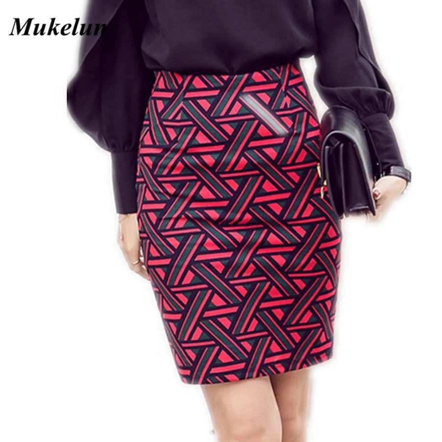 d899bdeef83 Женская длинная юбка-карандаш до колена Модная Летняя Открытая пикантная  элегантная клетчатая юбка больших размеров
